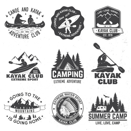 Set of canoe and kayak club badges. Vector illustration. 向量圖像