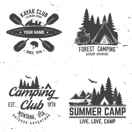 Set of kayak, camping and caravanning club badge. Vector illustration. Concept for shirt, print, stamp or tee. Vintage typography design with mountain camp and kayaker silhouette. Extreme adventure. 向量圖像
