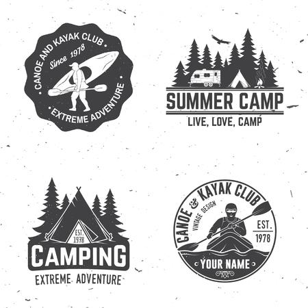 カヤック、キャンプ、キャラバンクラブバッジのセット。  イラスト・ベクター素材
