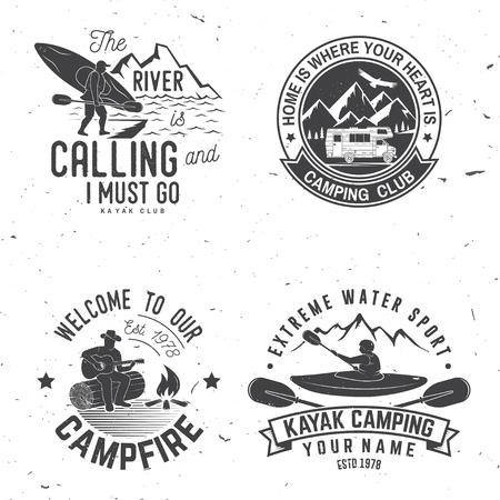 Set of kayak, camping and caravanning club badge. Vettoriali