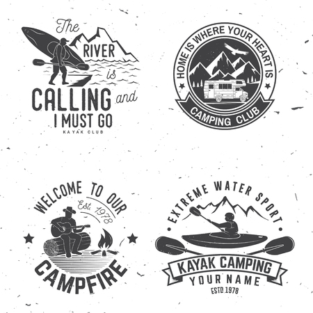 Set of kayak, camping and caravanning club badge. Stock Illustratie