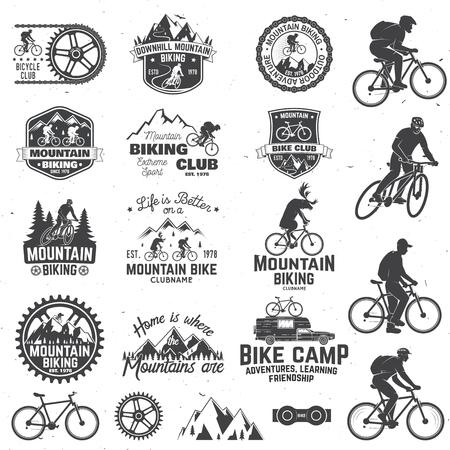 Mountain biking collection Vector illustration. 일러스트
