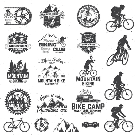 Mountain biking collection Vector illustration. Vettoriali