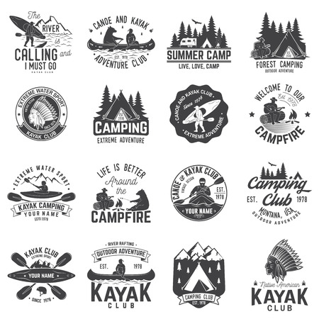 Set of canoe, kayak and camping club badge. Vector illustration. Concept for shirt, print, stamp or tee. Vintage typography design with mountain camp and kayaker silhouette. Vectores