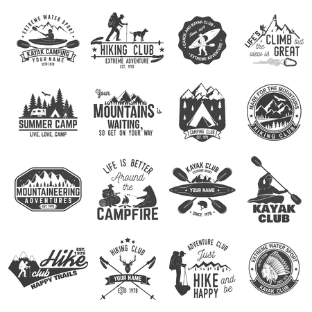 Set of canoe, kayak, hiking and camping club badge. Vector illustration. Concept for shirt, print, stamp or tee. Vintage typography design with mountain camp and kayaker silhouette.