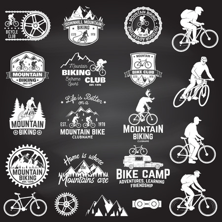 Set of Mountain biking clubs emblem with design element on the chalkboard. Vector. Concept for head badges, shirt, print, stamp. Mountain biking man riding on bikes silhouette. Outdoor sport activity.