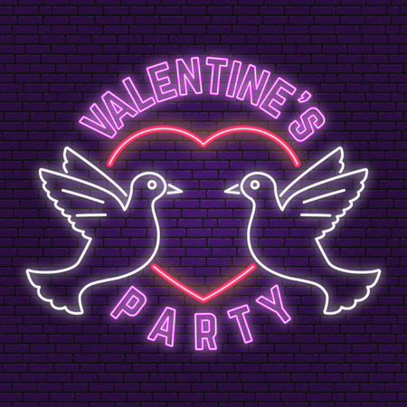 Neon sign, banner for Valentines Day celebrate Vector illustration.