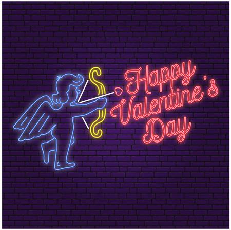ネオンサイン、バレンタインデーのバナーが祝います。  イラスト・ベクター素材