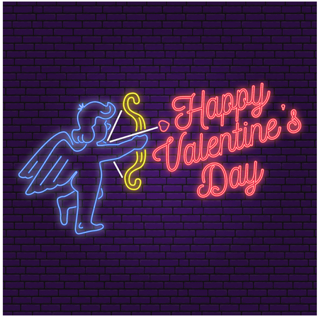 Neon sign, banner for Valentines Day celebrate.