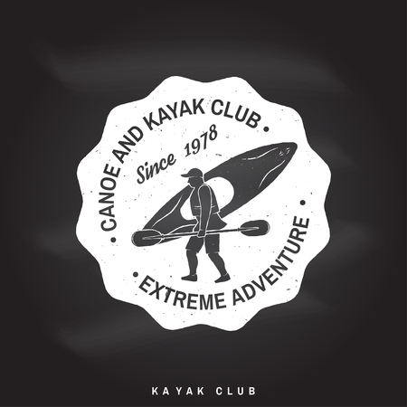 Canoe and kayak club badge Vector illustration. Illustration