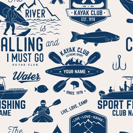 カヌー、カヤック、釣りクラブシームレスなパターン。  イラスト・ベクター素材