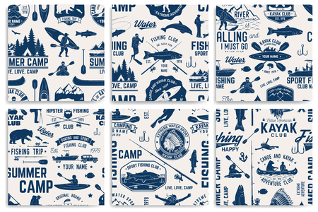 Canoe, Kayak and fishing Club seamless pattern.