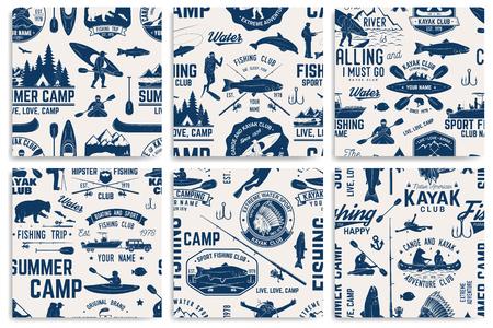 Canoe, Kayak and fishing Club seamless pattern.