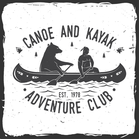 Canoe and Kayak club. Vector illustration. Vettoriali