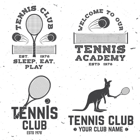Set of Tennis club badges. Vector illustration. Concept for shirt, print, stamp or tee. Vintage typography design with tennis racket, kangaroo and ball silhouette.