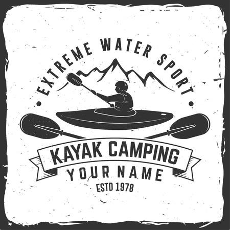 Kayak camping. Vector illustration. Stock Illustratie