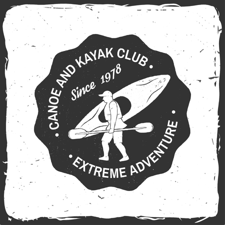 Canoe and kayak club badge. Vector illustration. Stok Fotoğraf - 94844611