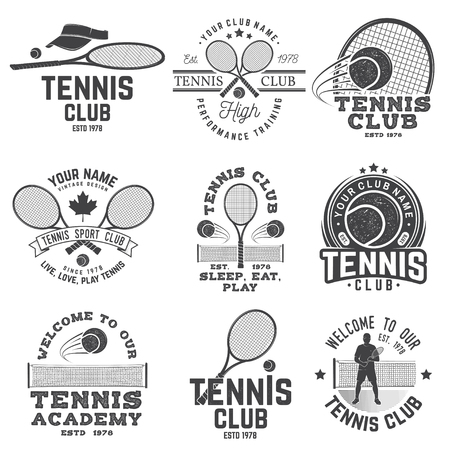 Set of Tennis club badges. Vector illustration. Concept for shirt, print, stamp or tee. Vintage typography design with tennis player, racket and ball silhouette.