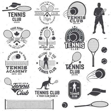 Set of Tennis club badges with design element. Vector illustration.