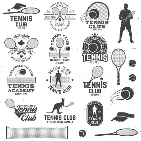Set of Tennis club badges with design element. Vector illustration.