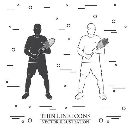Set of tennis player silhouette icons.