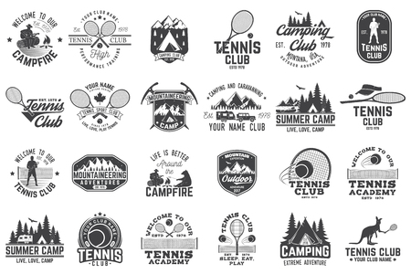 Set of tennis and camping club badge. Vector illustration.