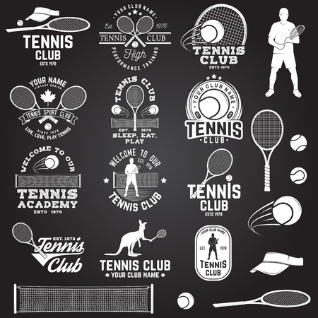 Ensemble de badges de badges de tennis avec élément de design. illustration vectorielle Banque d'images - 95290104