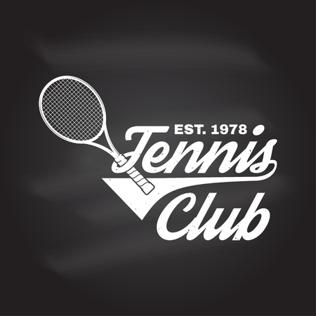 Tennis club badge on the chalkboard. Vector illustration. Concept for shirt, print, stamp or tee. Vintage typography design with tennis racket silhouette.