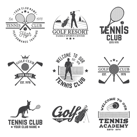 Set of Golf club, Tennis club concept with golfer and tennis player silhouette. Vector golfing and tennis club retro badge. Concept for shirt, print, seal or stamp. Typography design. Фото со стока - 96130557