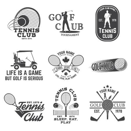 ゴルフクラブ、テニスクラブのコンセプト、ゴルファーとテニスプレーヤーのシルエットのセット。ベクターゴルフとテニスクラブのレトロなバッ