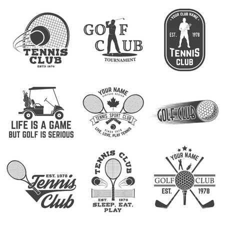 Set of Golf club, Tennis club concept with golfer and tennis player silhouette. Vector golfing and tennis club retro badge. Concept for shirt, print, seal or stamp. Typography design.