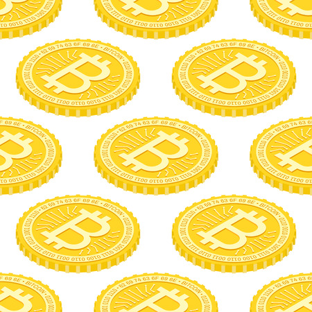 Bitcoin seamless pattern. Geometric 3d background with bitcoins. Vector illustration. Virtual electronic currency.
