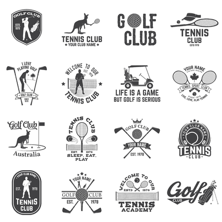 ゴルフクラブ、テニスクラブコンセプトベクターイラストのセット。