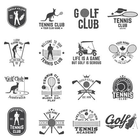 골프 클럽, 테니스 클럽 개념 벡터 일러스트 레이 션의 설정