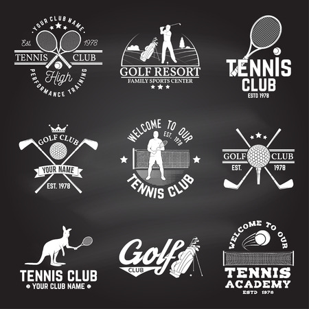 Set of Golf club, Tennis club concept with golfer and tennis player silhouette. Vector golfing and tennis club retro badge. Concept for shirt, print, seal or stamp. Typography design on the chalkboard. Illustration