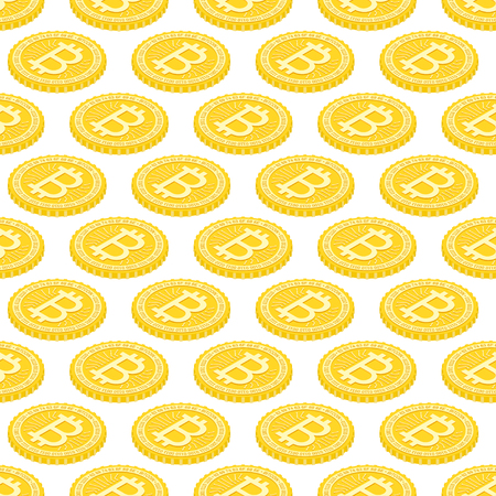 Geometric 3d background with bitcoins. Illustration