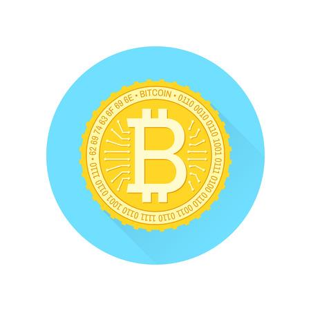 Bitcoin flat Icon on the white background. Illustration