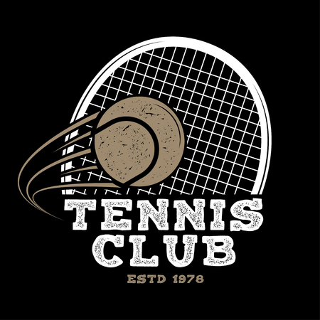 Tennis club badge. Vector illustration. Concept for shirt, print, stamp or tee. Vintage typography design with tennis racket and ball silhouette. Banque d'images - 96131902