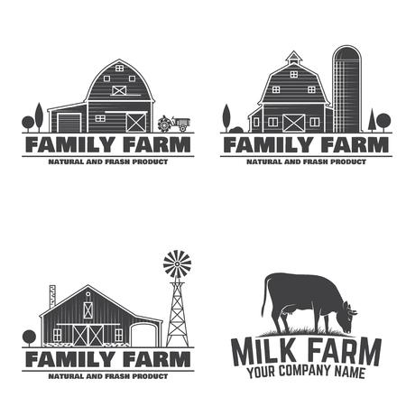 ファミリーファームとミルクファームのバッジやラベル。ベクターの図。牛と農場の納屋のシルエットとヴィンテージタイポグラフィデザイン。農