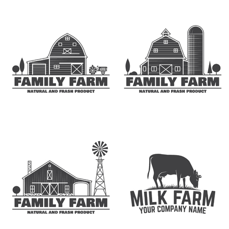 Family Farm and Milk Farm Badges or Labels. Vector illustration. Vintage typography design with cow and farm barn silhouette. Elements on the theme of the farming business.