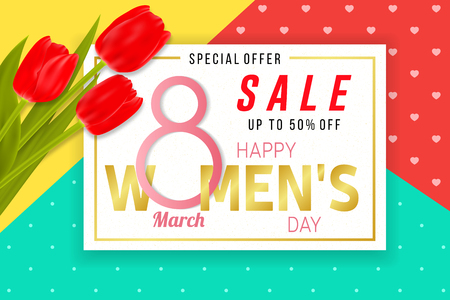 Happy Women s Day sale background with tulips. Vector illustration. For posters, brochure, banners and ad. 8 March - International Women s Day.