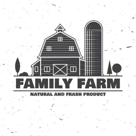 Family Farm Badges or Labels. Vector illustration. Vintage typography design with farm barn silhouette. Elements on the theme of the farming business.