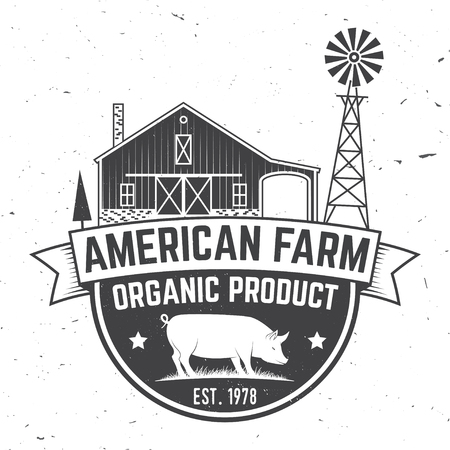 American Farm Badge or Label. Vector illustration.  イラスト・ベクター素材