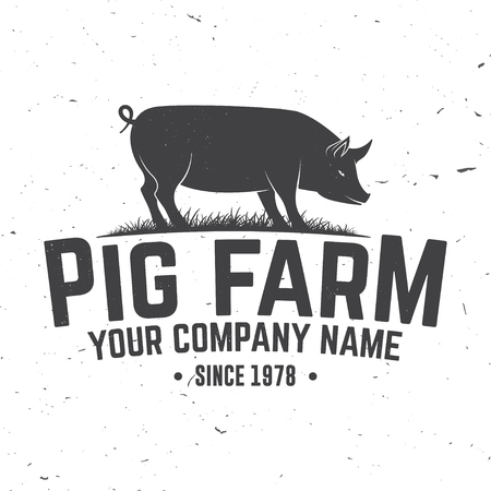 Pig Farm Badge or Label. Vector illustration.  イラスト・ベクター素材
