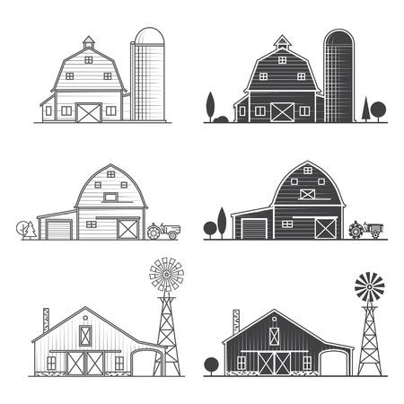細いラインアメリカの農場のアイコンのセット。  イラスト・ベクター素材