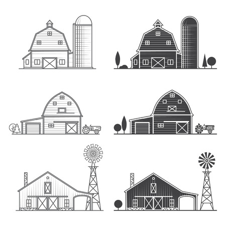 Set of thin line american farm icon.