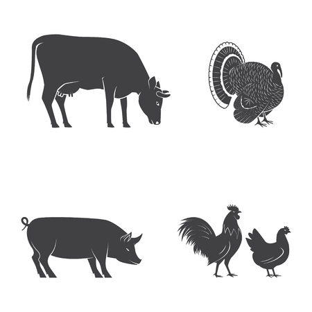 Set of farm animals isolated on the white. Vector illustration.