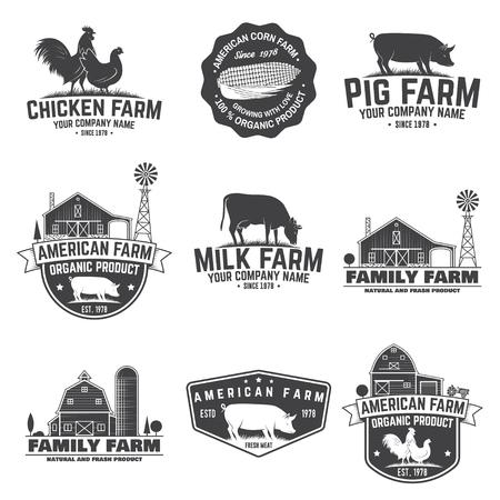 American Farm Badge or Label. Vector illustration.  イラスト・ベクター素材