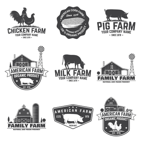 American Farm Badge or Label. Vector illustration. Stock Illustratie