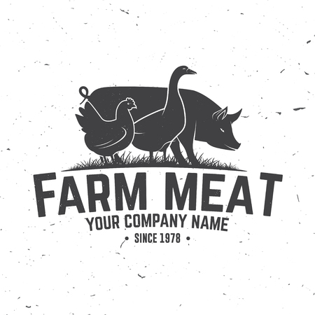 Farm Meat Badge or Label. Vector illustration.